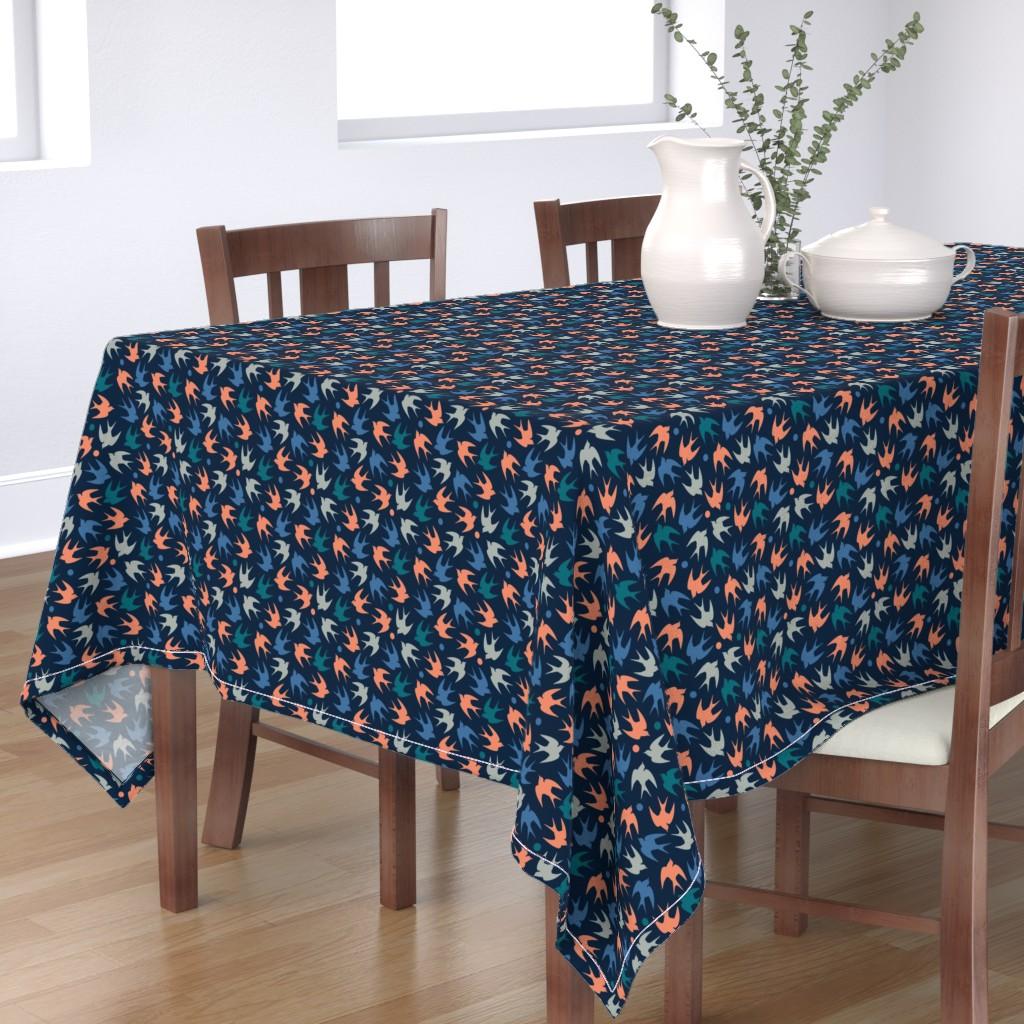 Bantam Rectangular Tablecloth featuring navy birds in pink blue green and gray by taranealart
