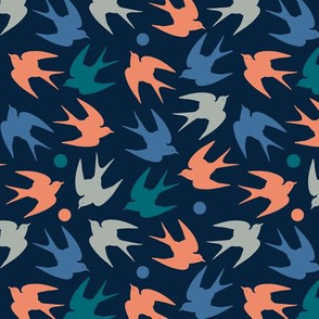 navy birds in pink blue green and gray