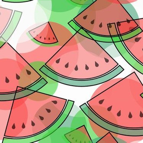 Sliced Watermelon in Red and Green