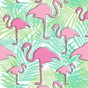 Tropical Flamingos with Foliage