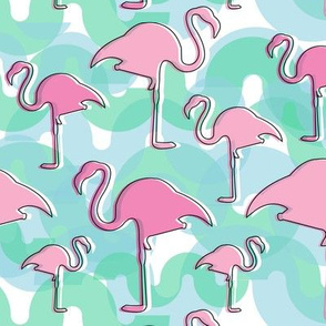 Tropical Flamingos in Pink, Green and Blue