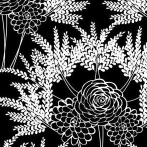 Black & White Floral Scallop with Ferns and Roses