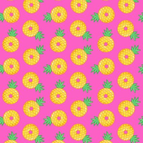 (small scale) pineapple donuts - hot pink - LAD19