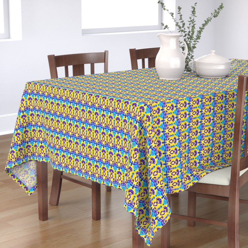 Bantam Rectangular Tablecloth featuring HP6 -  Hovering Alien Puppies in Purple - Lavender - Aqua - Gradient Yellow by maryyx