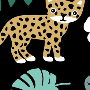 Sweet little wild cat tiger jungle botanical monstera palm leaves and flowers summer black green ochre boys JUMBO XXL