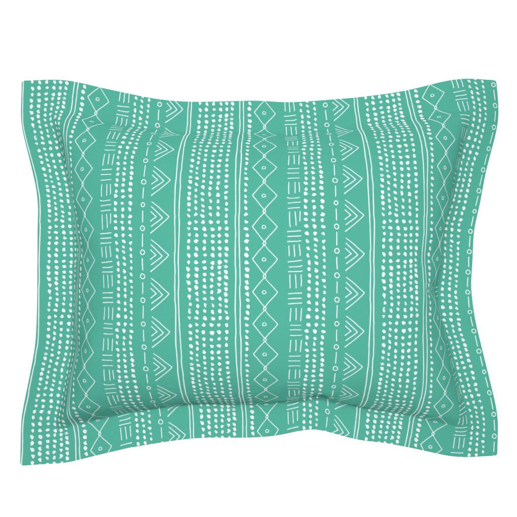 Sebright Pillow Sham featuring Seasonal christmas mudcloth design for the holidays in 2019 color palette abstract minimal mint green by littlesmilemakers