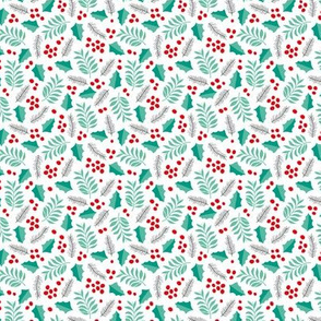 Christmas petals and leaves seasonal holly berry december palette white mint red