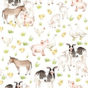 "12"" Nursery Farm Animals on white"