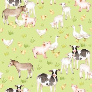 "12"" Nursery Farm Animals on green"