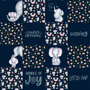 Little Elephants and Cute Animals Patchwork - baby girls quilt cheater quilt fabric - spring animals flower fabric, baby fabric, cheater quilt fabric on dark blue