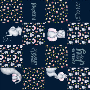 "27"" Little Elephants and Cute Animals Patchwork - baby girls quilt cheater quilt fabric - spring animals flower fabric, baby fabric, cheater quilt fabric on dark blue"