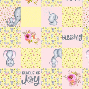 Little Elephants and Cute Animals Patchwork - baby girls quilt cheater quilt fabric - spring animals flower fabric, baby fabric, cheater quilt fabric