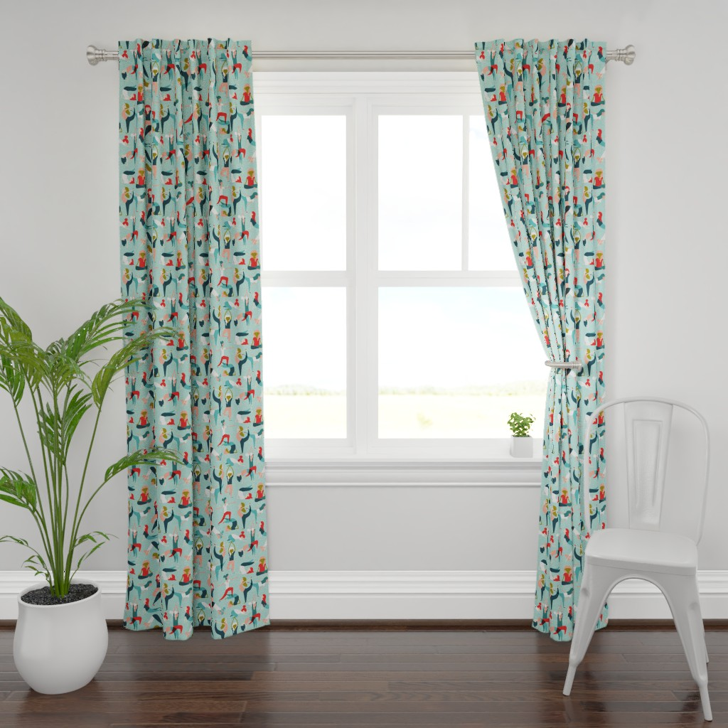 Plymouth Curtain Panel featuring Yoga exercises on mint by heleen_vd_thillart