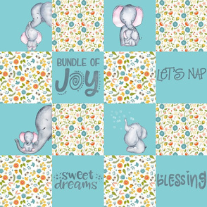 "18"" Little Elephants Cute Animals Patchwork - baby girls quilt cheater quilt fabric -  elephant flower fabric, baby fabric, cheater quilt fabric on fresh teal"