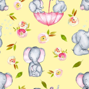 "10"" Cute elephants and flowers on yellow"