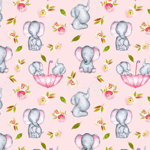 "10"" Cute elephants and flowers on pink"