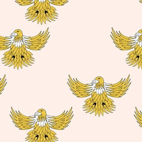 Little eagle desert freedom bird king of the sky kids summer design ochre yellow