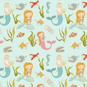 "10"" Ocean Nursery Fairytales - Mermaids Fishes and Neptun on turquoise blue - Mermaid Fabric"