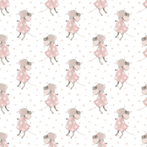 "6"" Cute baby mouse girl and flowers, mouse fabric, mouse nursery on pink polka dots"