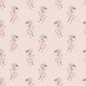 """6"""" Cute baby mouse girl and flowers, mouse fabric, mouse nursery on blush polkadots"""