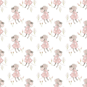 "6"" Cute baby mouse girl and flowers, mouse fabric, mouse nursery on flower meadow"