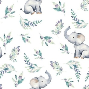 "10"" Cute baby elephants and flowers, elephant fabric, elephant nursery 1"
