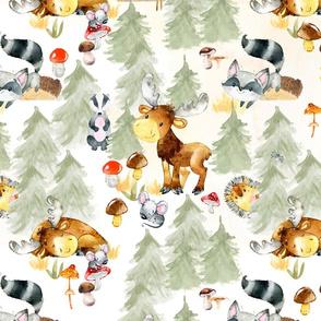 """27"""" Woodland Adventure - Moose Deer Hedgehog Raccoon Batcher - Woodland fabric, woodland animals fabric light"""