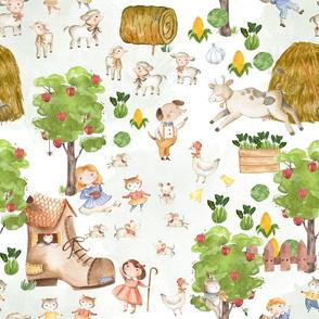 "14""Beautiful farm life - Nursery Farm Animals girls and boys on white"
