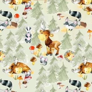 """27"""" Woodland Adventure - Moose Deer Hedgehog Raccoon Batcher - Woodland fabric, woodland animals fabric dark"""