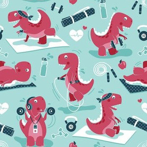 Small scale // Fitness exercises for a dino // aqua background red t-rex dinosaurs