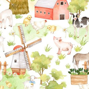 "18"" Nursery Farm Animals on white"