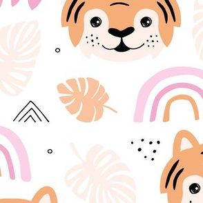 Little tiger cub with botanical leaves and rainbow jungle kids summer design pink peach girls JUMBO