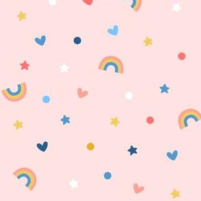 confetti rainbows on pink
