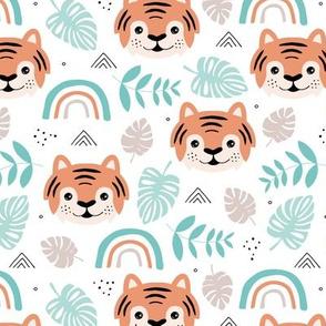 Little tiger cub with botanical leaves and rainbow jungle kids summer design mint orange boys