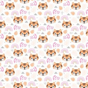 Little tiger cub with botanical leaves and rainbow jungle kids summer design pink peach girls SMALL