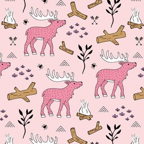 Little moose adventures mountains and wild life park winter theme pink girls