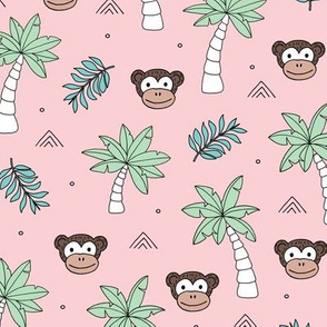 Little monkey jungle palm trees and leaves kids design