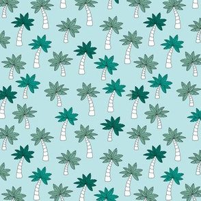 Palm tree jungle and little tropical garden surf print theme summer blue green