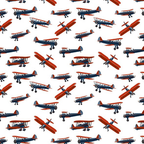 Red white and blue biplanes