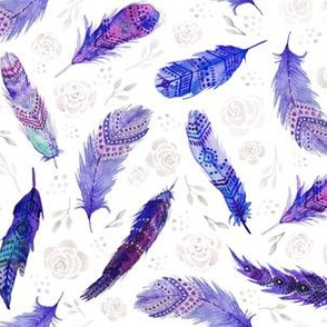 Watercolor Purple Feathers Floral