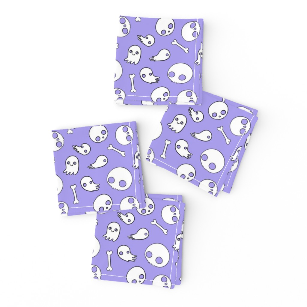 Frizzle Cocktail Napkins featuring Cute Skulls and Ghosts Lavender by planet_kimberly