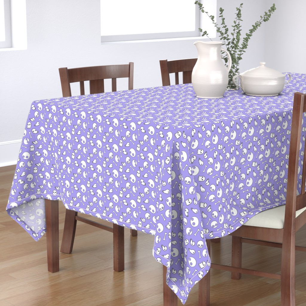 Bantam Rectangular Tablecloth featuring Cute Skulls and Ghosts Lavender by planet_kimberly
