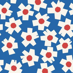 Square Flowers in bright blue, warm red, cream