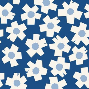 Square Flowers in classic blue denim, cream