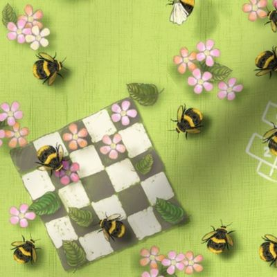 Removable Water-Activated Wallpaper Floral Bees Insects Teal Animals Flowers