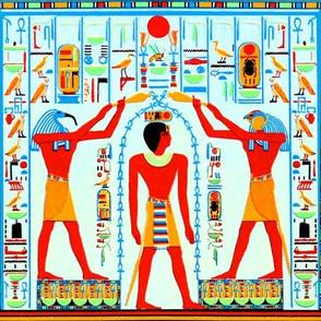ancient egypt egyptian pharaoh gods kings hieroglyphics Ankh Horus Thoth Falcon Ibis birds life orange brown blue red royalty tribal sun Green scarab beetle cobra snakes birds