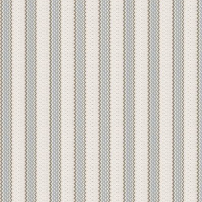 Ticking Stripe Gray Medium Bordered by Thin Taupe Stripes