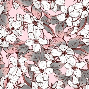 White flowers on pink /4