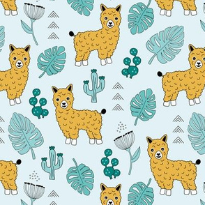 Sweet summer Llama garden with monstera leaves and cacti flowers ochre blue