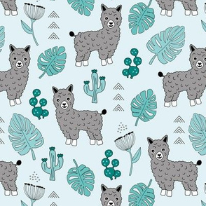 Sweet summer Llama garden with monstera leaves and cacti flowers gray blue